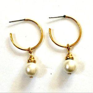 Vintage Gold Pearl Hoop Earrings